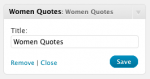 Women Quotes – Widget control panel