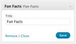 Fun Facts - Widget control panel